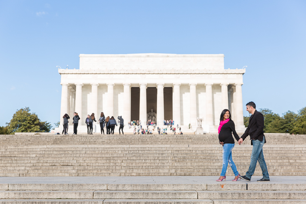 Maternity photos in front of the Lincoln Memorial | Washington DC Maternity Photographer