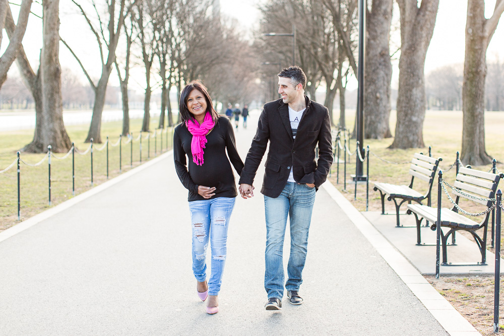 Walking on the path near the Reflecting Pool | Washington DC Maternity Session