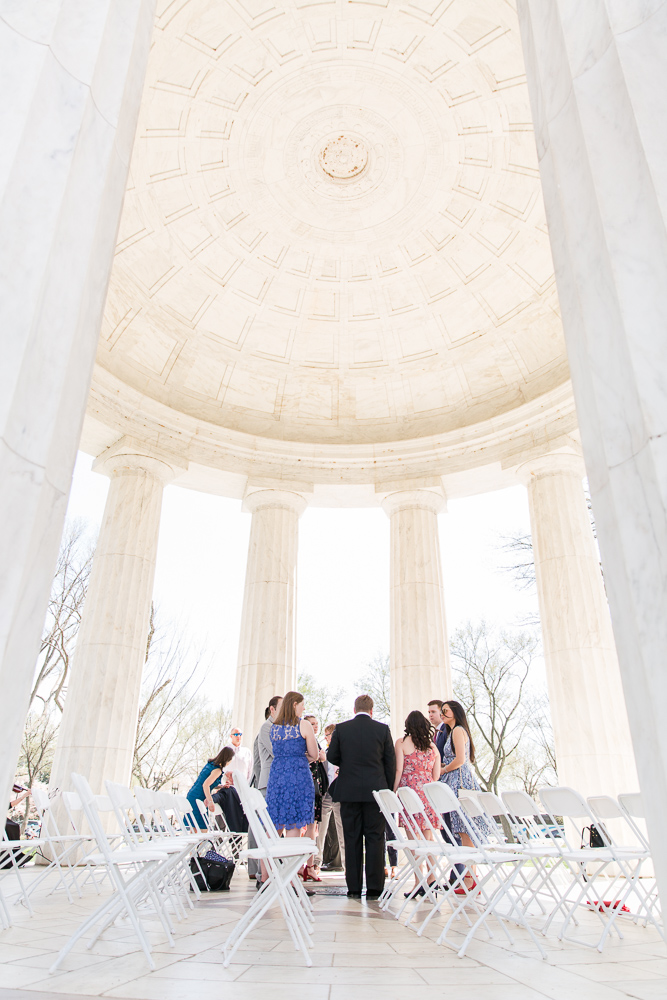 Guests mingling at the DC War Memorial before the wedding ceremony | DC War Memorial wedding
