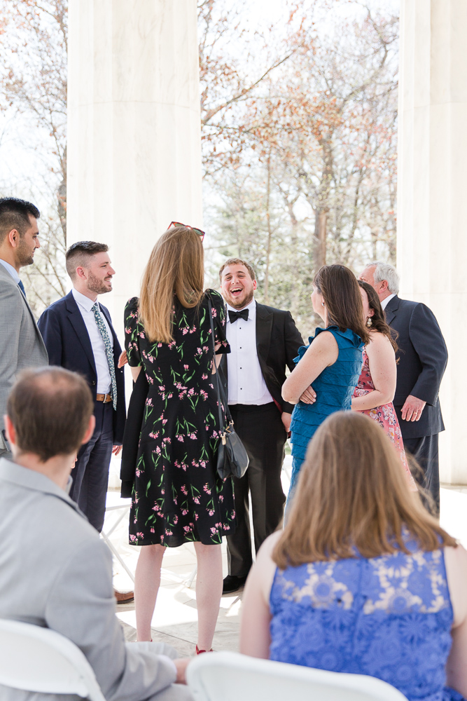 Groom laughing with the guests before the wedding | Candid DC Wedding Photographer | Megan Rei Photography