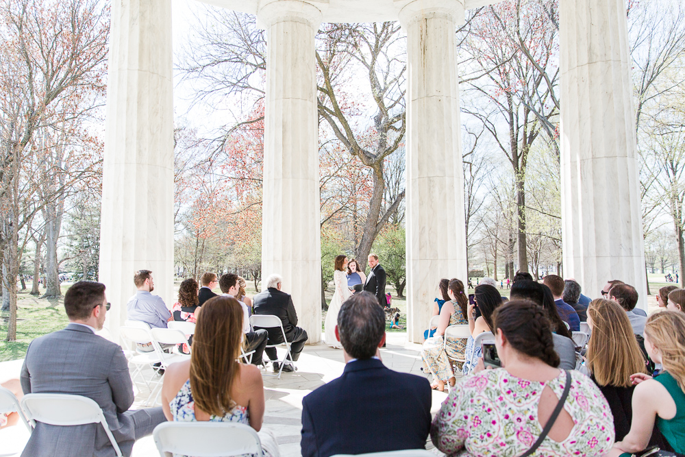 View of the wedding ceremony at the DC War Memorial | Washington DC Wedding Photographer
