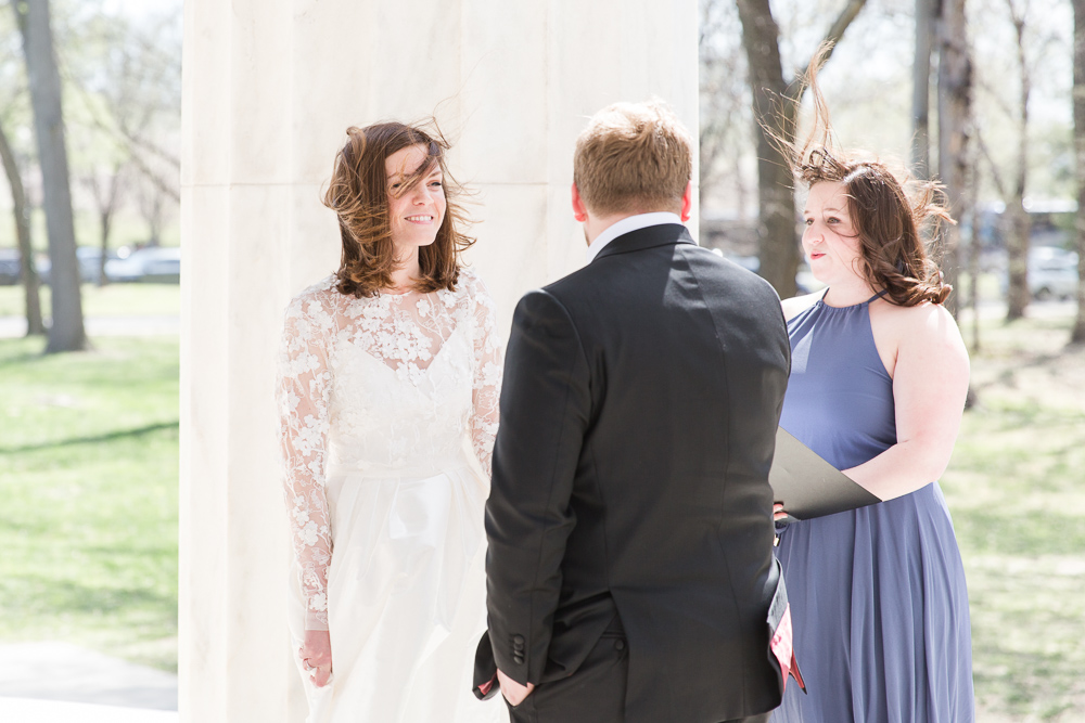 A windy outdoor wedding ceremony in Washington DC