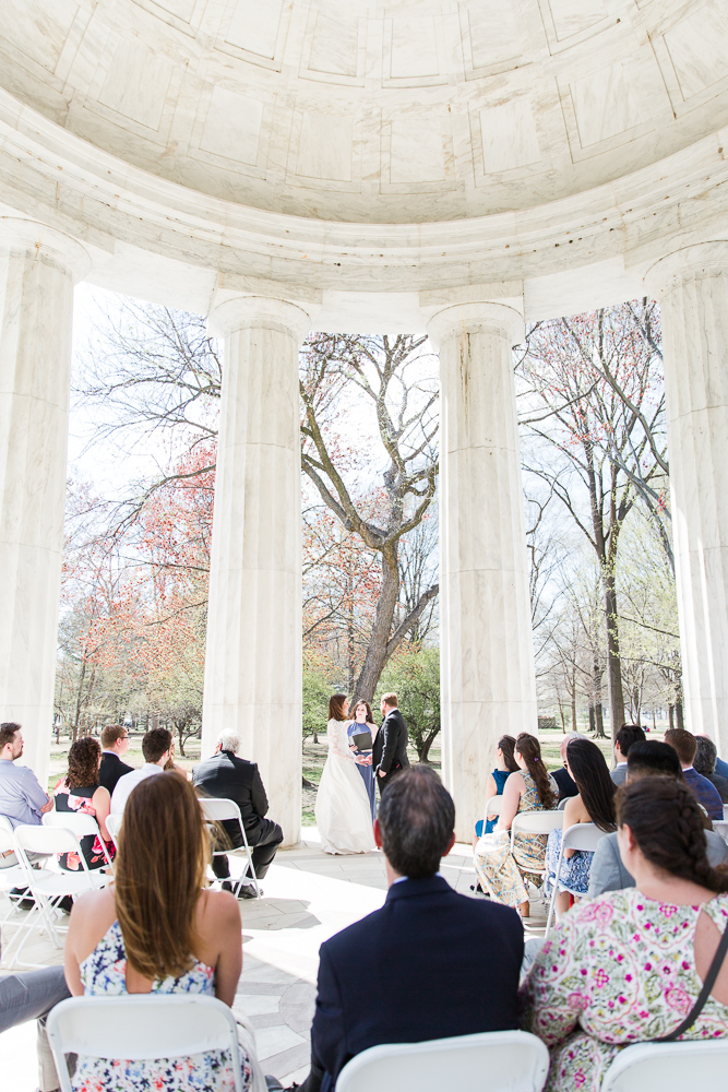 Intimate wedding ceremony at the DC War Memorial | Best Locations in DC for Outdoor Wedding Ceremony