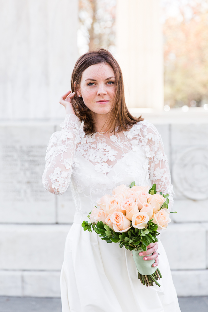 Bride at the DC War Memorial | Wedding dress by Rue de Seine from Lovely Bride, Rochester NY