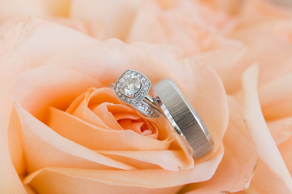 Beautiful wedding rings from Mann's Jewelers in Rochester, NY | Bridal bouquet from Allan Woods Flowers, Washington DC Wedding Florist