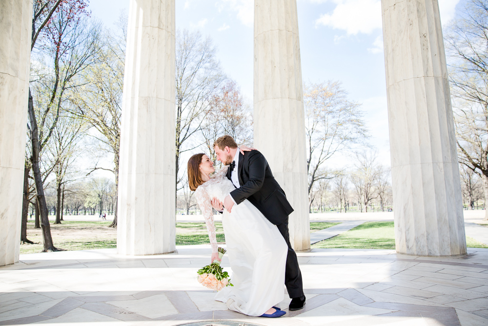 The wedding couple at their DC War Memorial Wedding | Washington DC Wedding Photographer | Megan Rei Photography