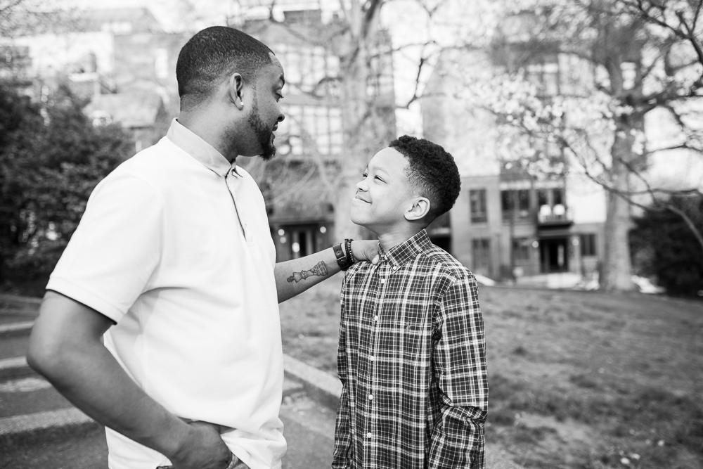 Sweet photo of father and son looking at each other | Documentary photography in Washington, DC