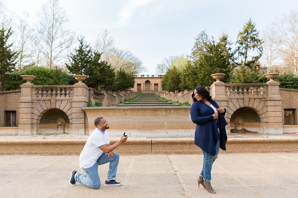 Surprise proposal photography in front of the fountain and staircase at Meridian Hill Park | Washington DC Proposal Photographer | Megan Rei Photography