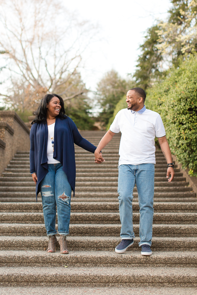 Happy couple on the steps of Meridian Hill Park | Washington, DC Proposal Photography | Candid DC Photographer