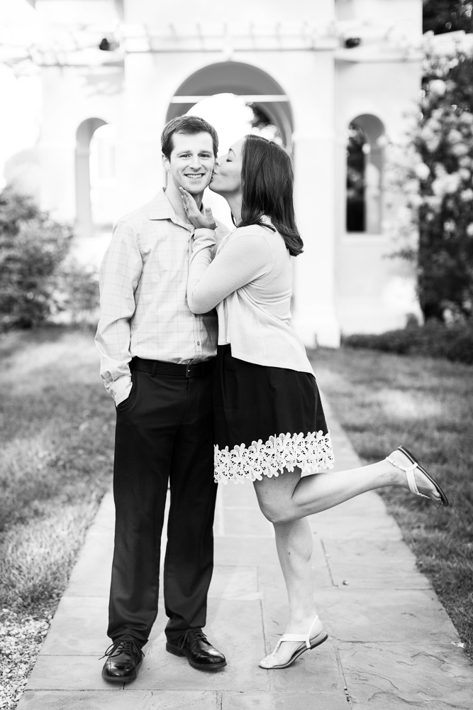 Getting a kiss on the cheek from his future bride | Fauquier County Engagement Photo Locations