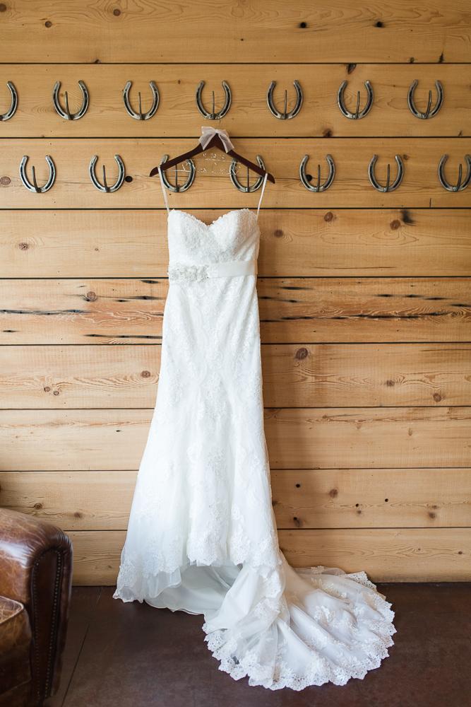 Wedding dress hanging on horseshoes at King Family Vineyards, Crozet