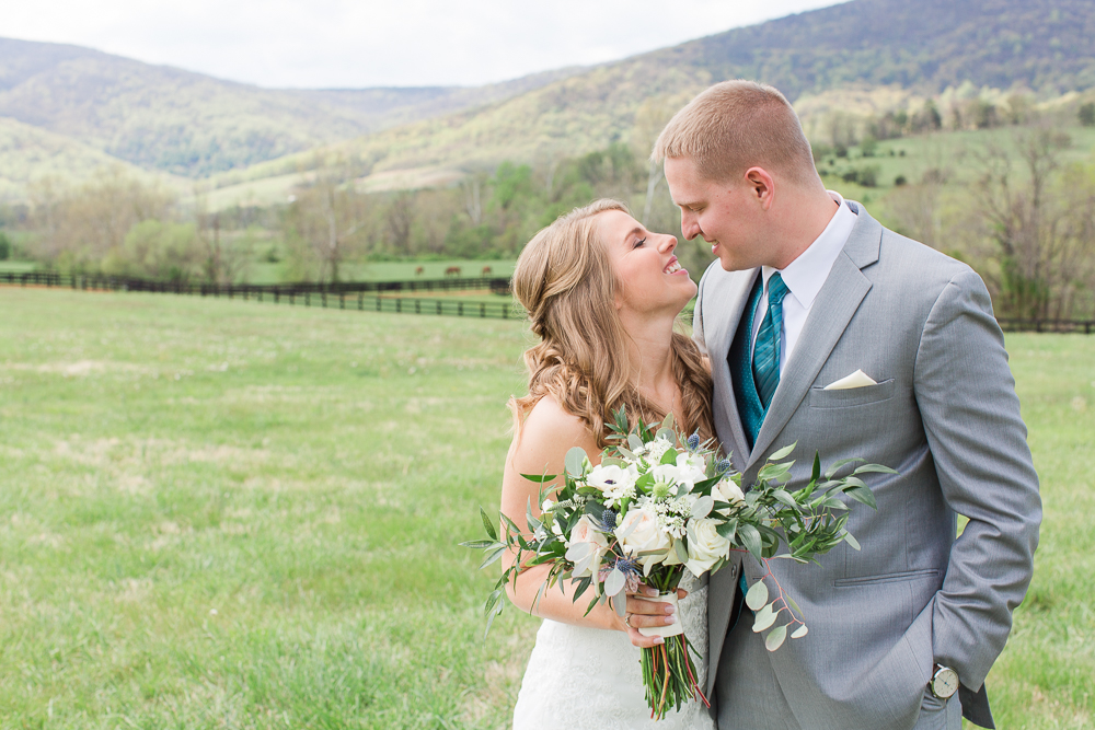 Sweet photo of the bride and groom on their wedding day | King Family Vineyards wedding