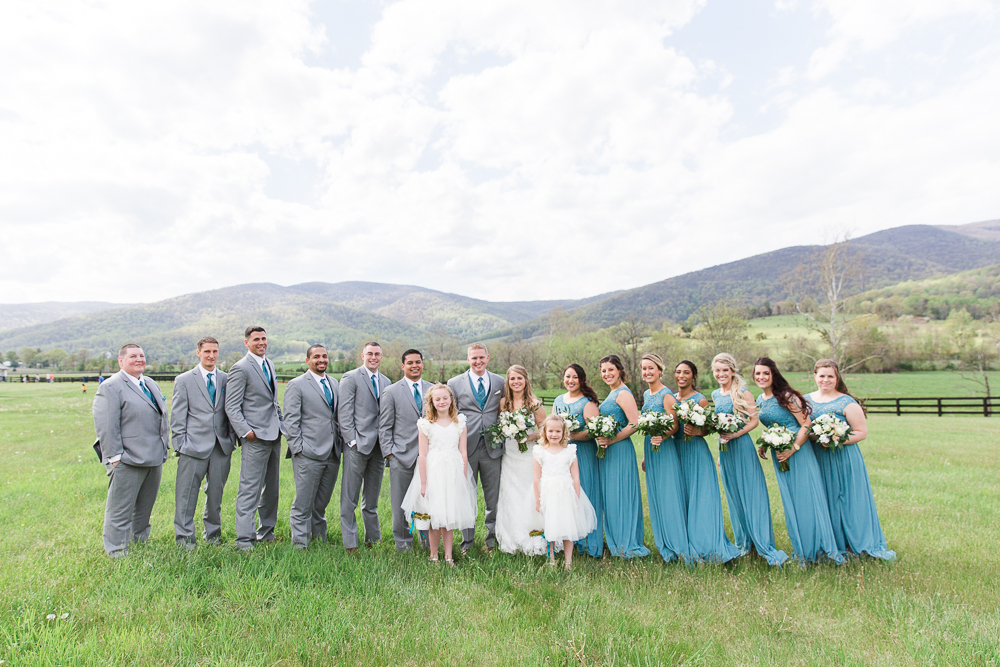 Wedding party photo with Blue Ridge Mountain views | King Family Vineyards wedding venue in Crozet, Virginia