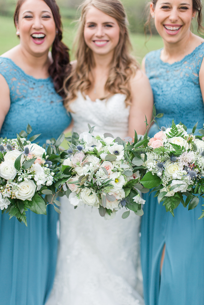 Wedding bouquets from Foxtail Cottage, Charlottesville Wedding Florist | Light blue bridesmaid dresses from David's Bridal | Megan Rei Photography