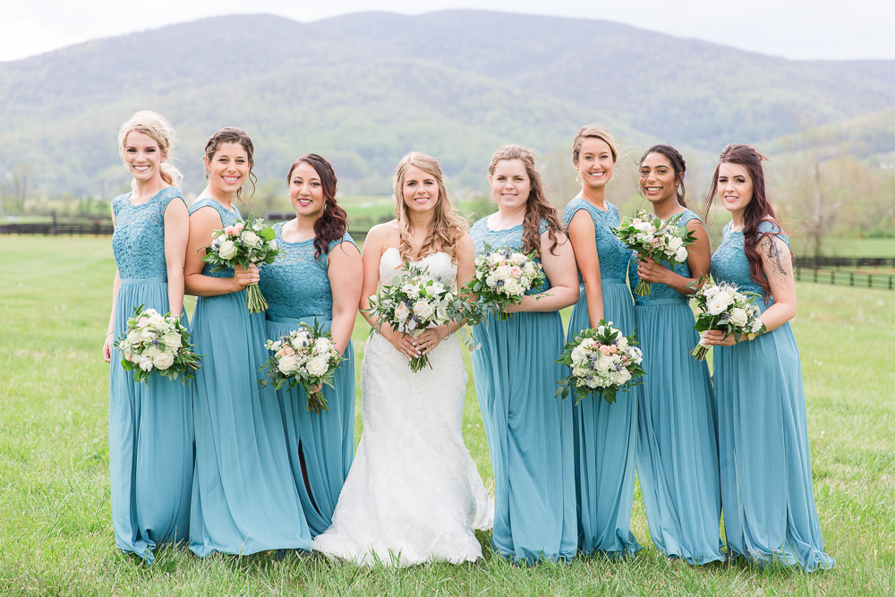 David's Bridal long teal bridesmaid dresses at King Family Vineyards in Crozet, Virginia | Charlottesville Wedding Photographer | Megan Rei Photography