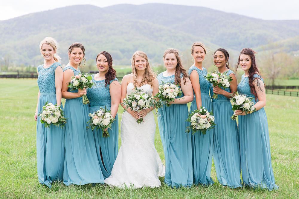David's Bridal long teal bridesmaid dresses at King Family Vineyards in Crozet, Virginia | Charlottesville Wedding Photographer | Megan Rei Photography