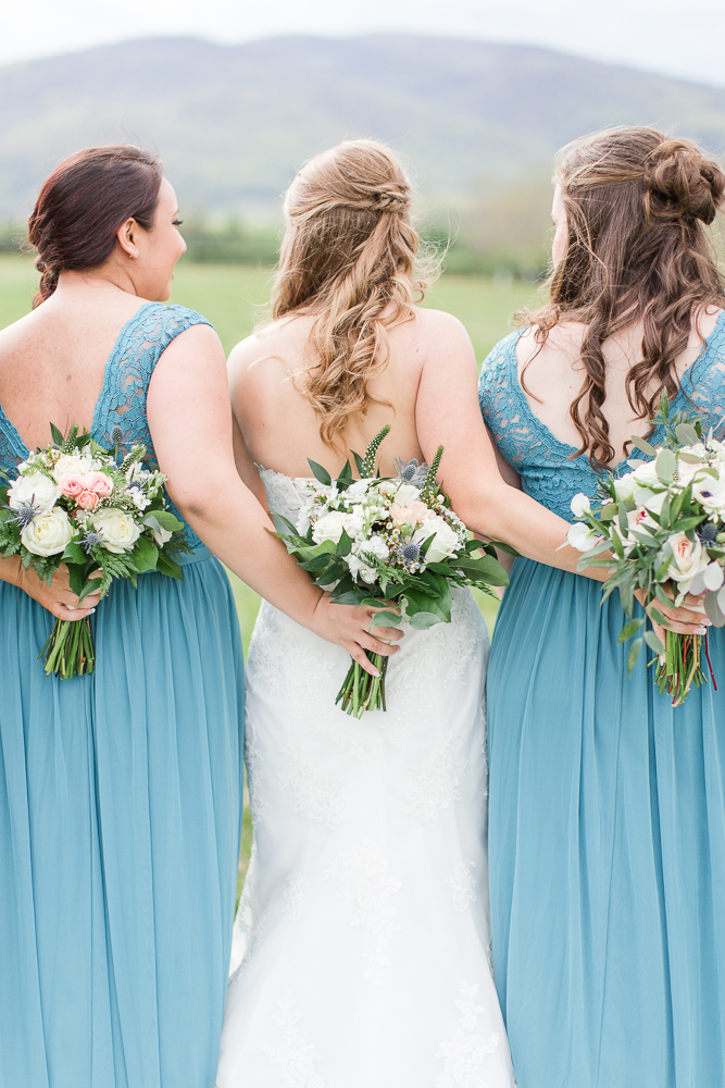 Bride and bridesmaids holding bouquets from Foxtail Cottage Floral in Charlottesville, Virginia | Charlottesville Virginia Wedding