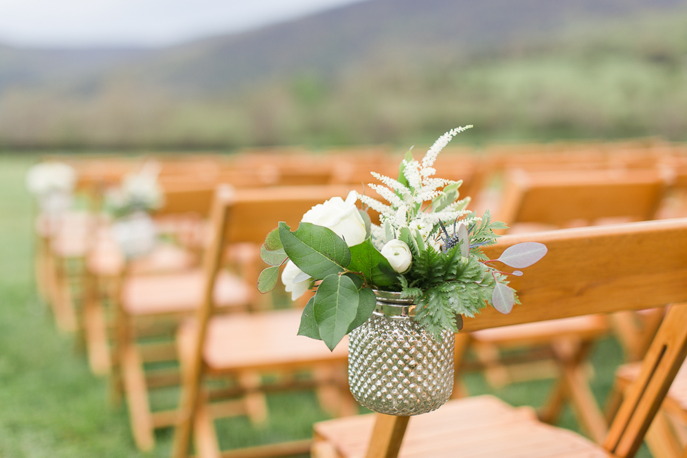 Wedding ceremony décor at King Family Vineyards