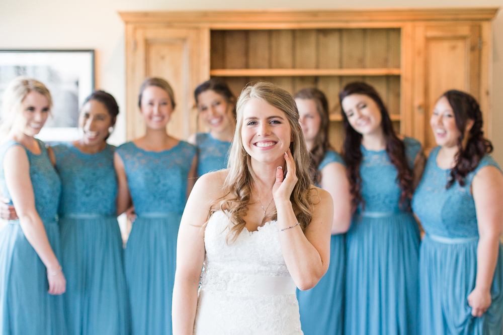 Bride and her bridesmaids at King Family Vineyards | Best winery wedding venue in Virginia | Megan Rei Photography