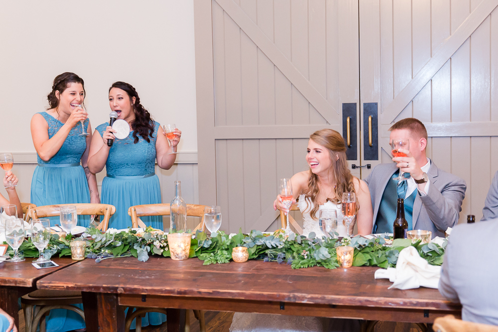 Candid photo of the maid of honor toast at King Family Vineyards | Crozet Wedding Photos