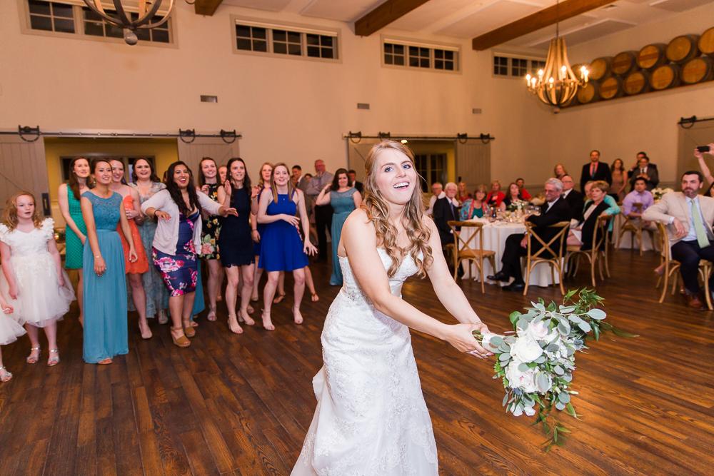 Fun bouquet toss at King Family Vineyards | Crozet Wedding Venue