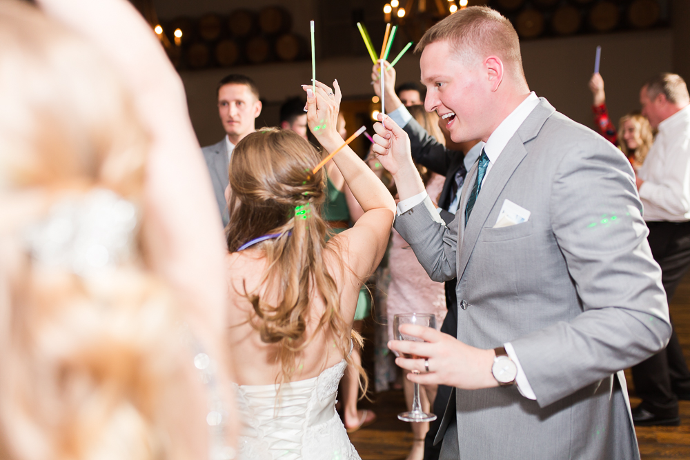Bride and groom dancing with glow sticks at King Family Vineyards | Guyton Mobile DJ