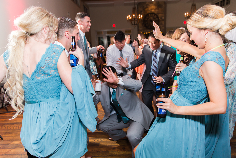 Wedding guests having fun during the reception | Fun wedding photography in Crozet, VA