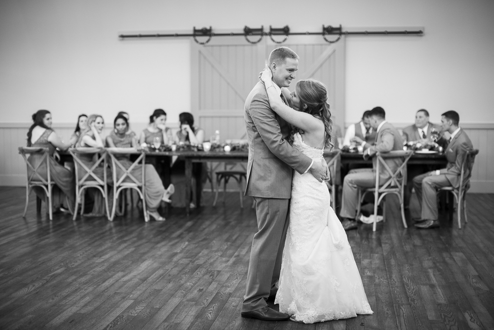 Bride and groom first dance during the reception