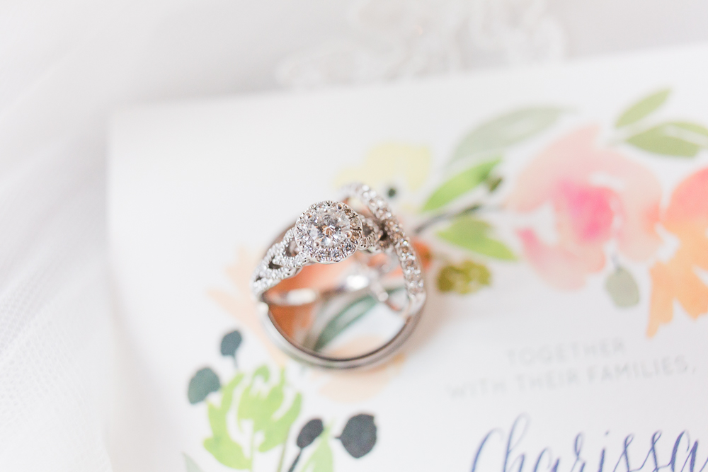 Minted wedding invitation with rings from Vera Wang and Zales | Crozet, Virginia wedding
