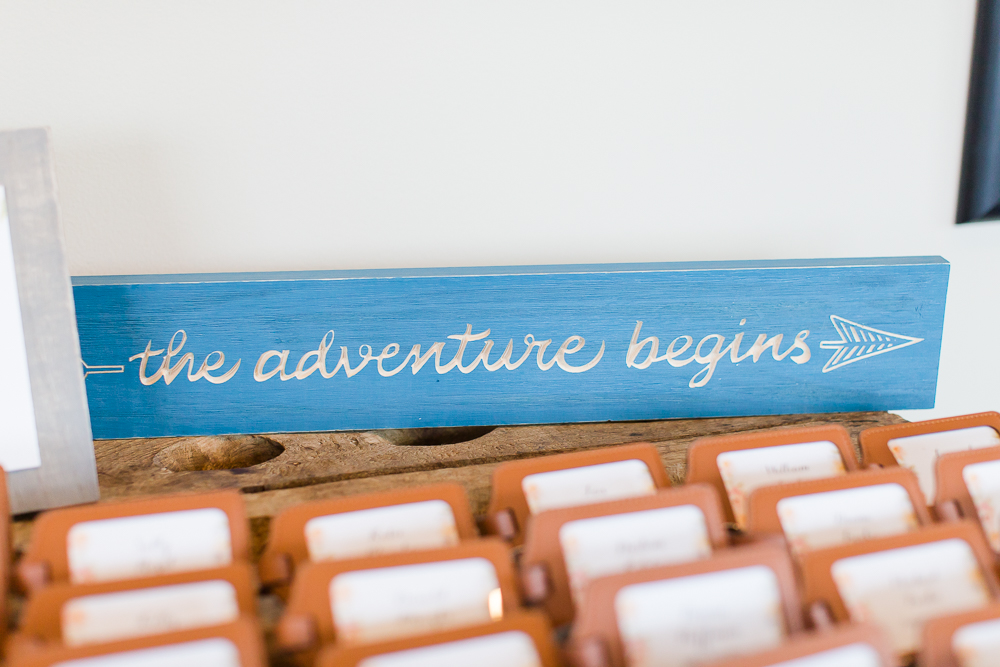 """The adventure begins"" wedding signage for wedding reception"