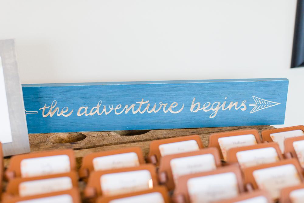 """The adventure begins"" wedding signage for wedding reception"
