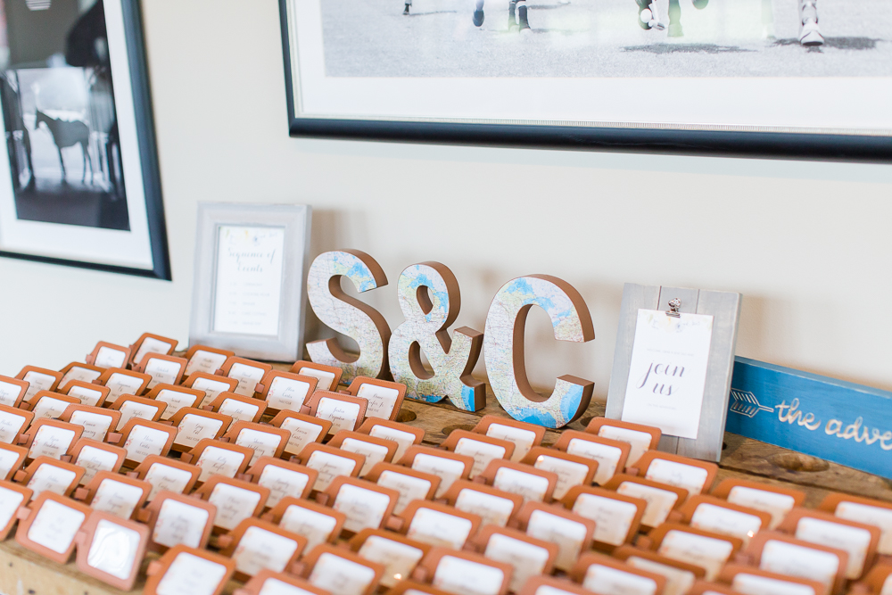 Travel and adventure themed wedding decor with luggage tags as place cards