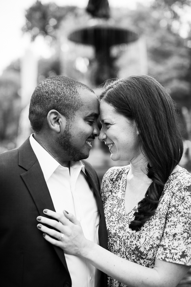 Black and white photo of the happy couple during their engagement shoot