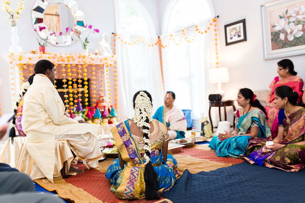 Indian vow renewal ceremony in living room in Herndon, Virginia