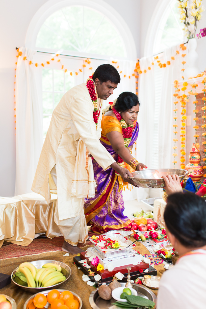 Husband and wife during their Shashti Poorthi ceremony at their home in Herndon, Virginia