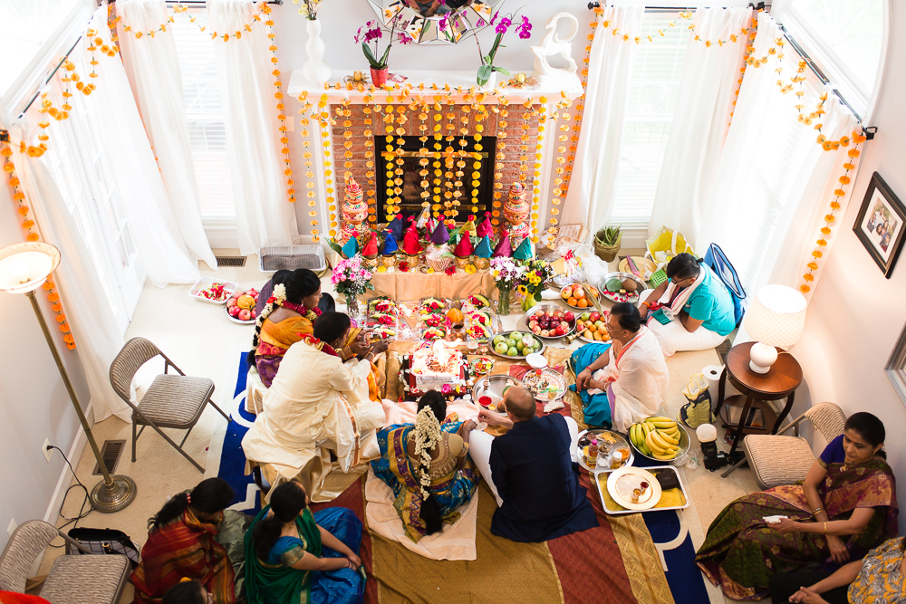 Overhead view of the Hindu Shashti Poorthi ceremony in Herndon, Virginia living room