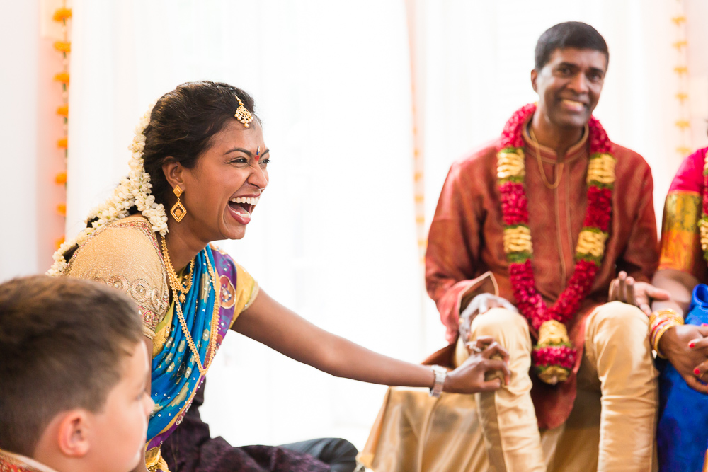 Laughter during Indian wedding in Northern Virginia | Megan Rei Photography