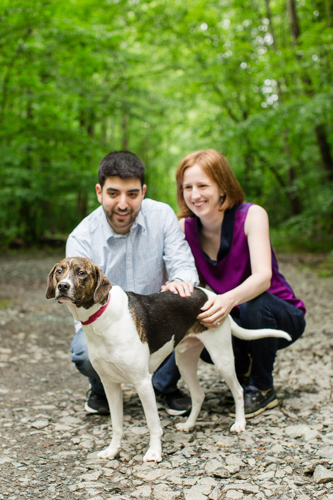 Engaged couple with their dog hiking at Scott's Run | Northern Virginia Engagement Photgrapher