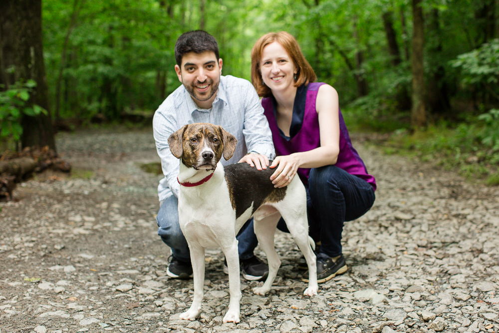 Hiking at Scott's Run Nature Preserve with dog | Hiking engagement pictures in Northern Virginia