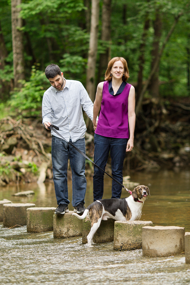 Crossing the stream with their dog