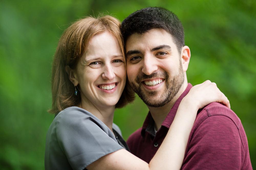 Happy couple hiking at Scott's Run Nature Preserve in McLean, Virginia