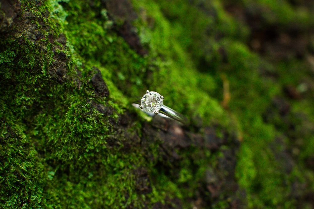 Engagement ring with moss during an engagement shoot in the forest