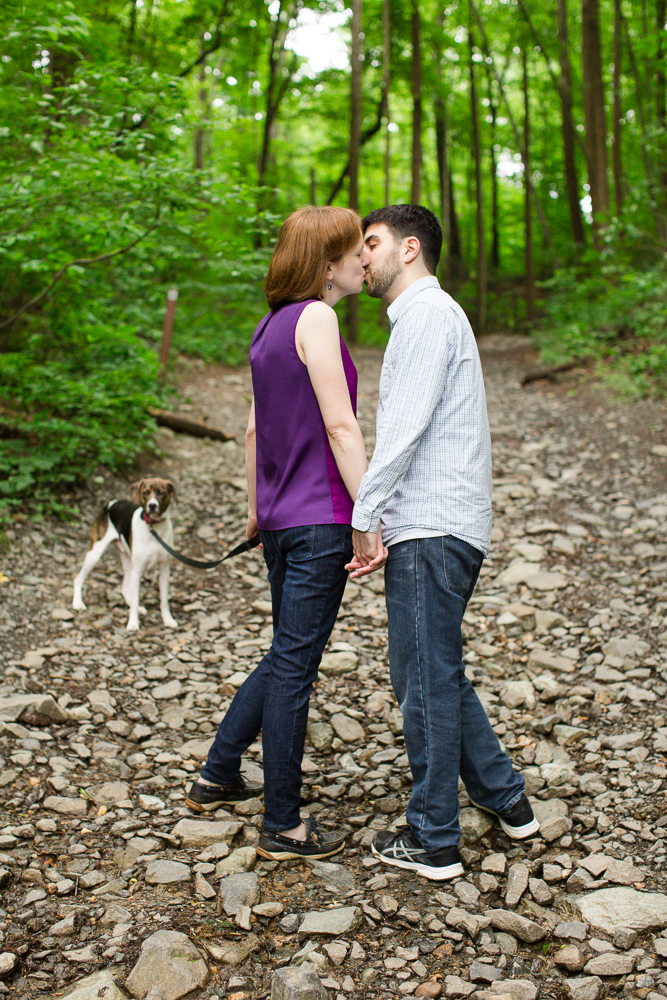 Hiking along the trail at Scott's Run with their dog | Northern Virginia forest engagement session