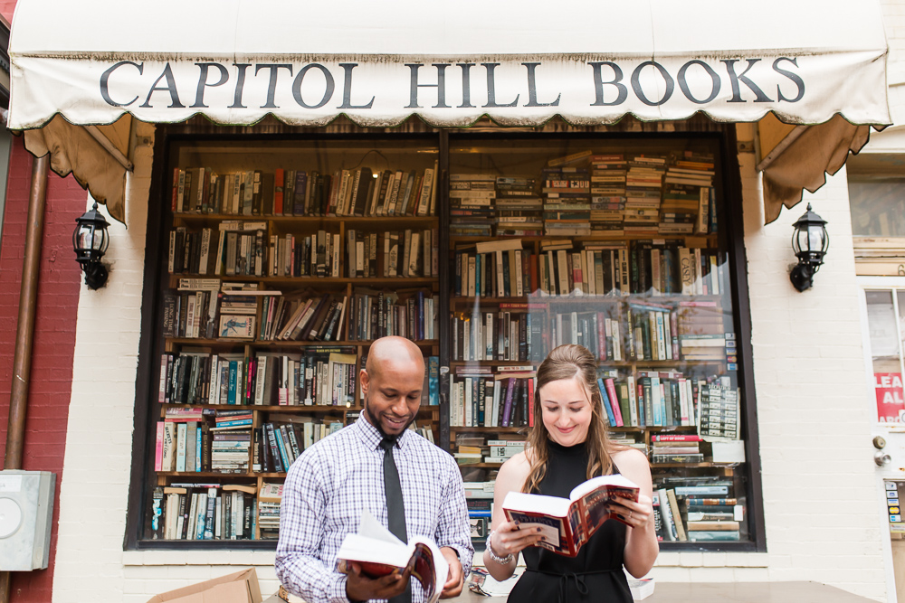 Capitol Hill Books engagement pictures in Washington, DC