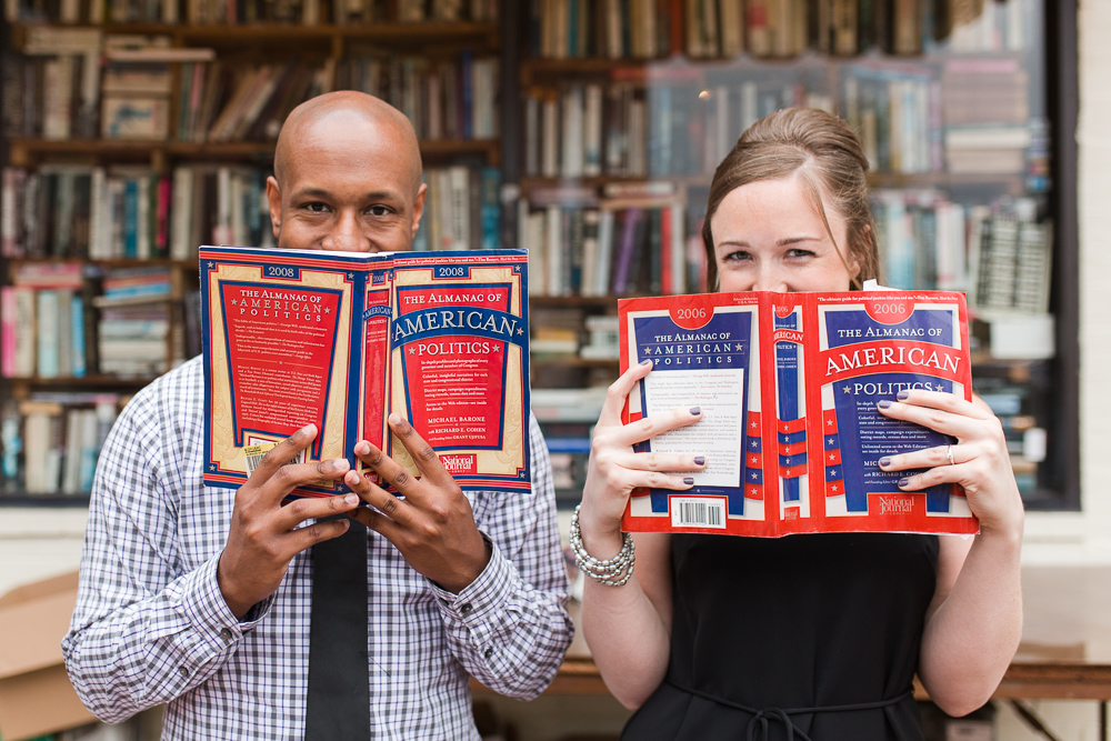 Engagement photo in front of Capitol Hill Books in DC