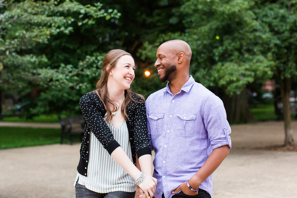 Smiling couple during their engagement session in Washington DC