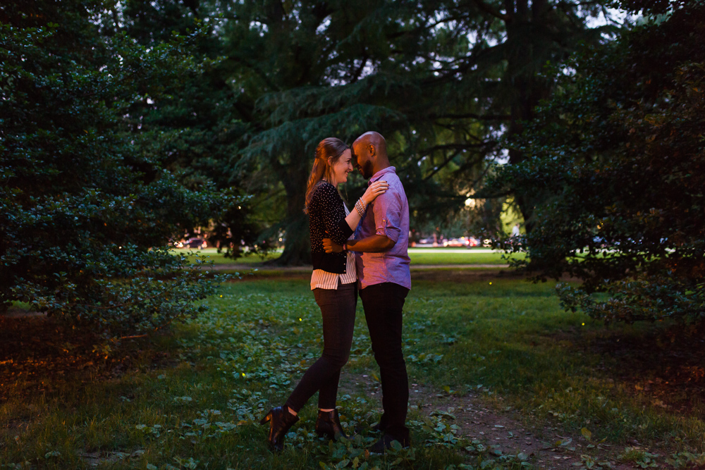 Engagement photo with fireflies in Lincoln Park, DC