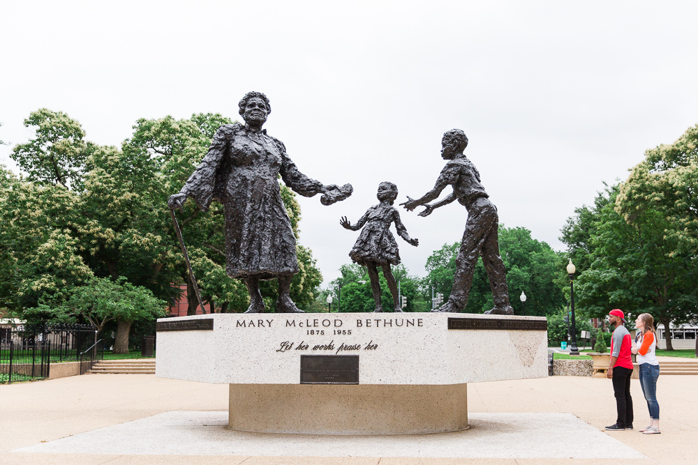 Looking at the Mary McLeod Bethune statue in Lincoln Park