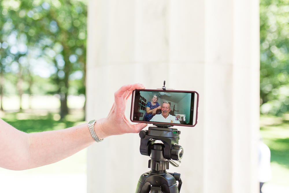 Setting up Skype to live-stream the small wedding ceremony at the DC War Memorial