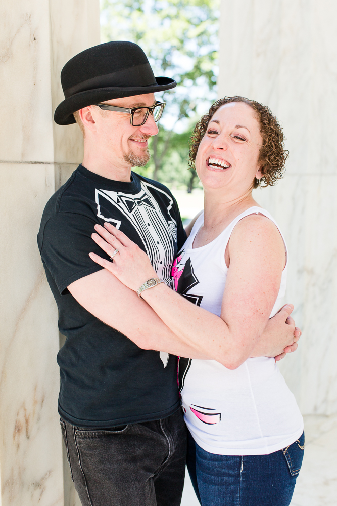 Candid laughter between bride and groom during their alternative DC wedding
